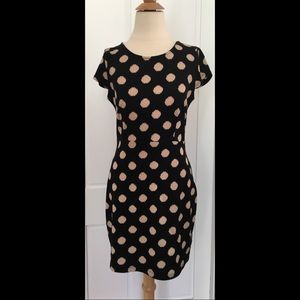 Black and beige polka dot dress